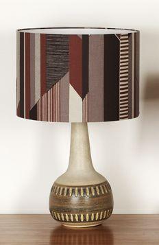 Tamasyn Gambell   Hand-printed Textured Stripe Linen   Vintage lamp