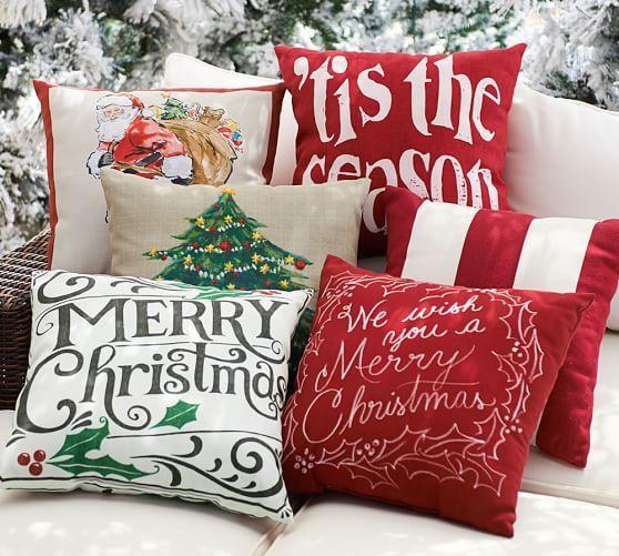 Merry Christmas Sentiment Outdoor Pillow | Pottery Barn