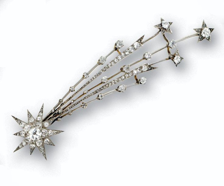 DIAMOND AIGRETTE, CIRCA 1890, an ornament designed as a shooting star, set with old European-cut, single-cut and rose-cut diamonds, mounted in platinum and gold