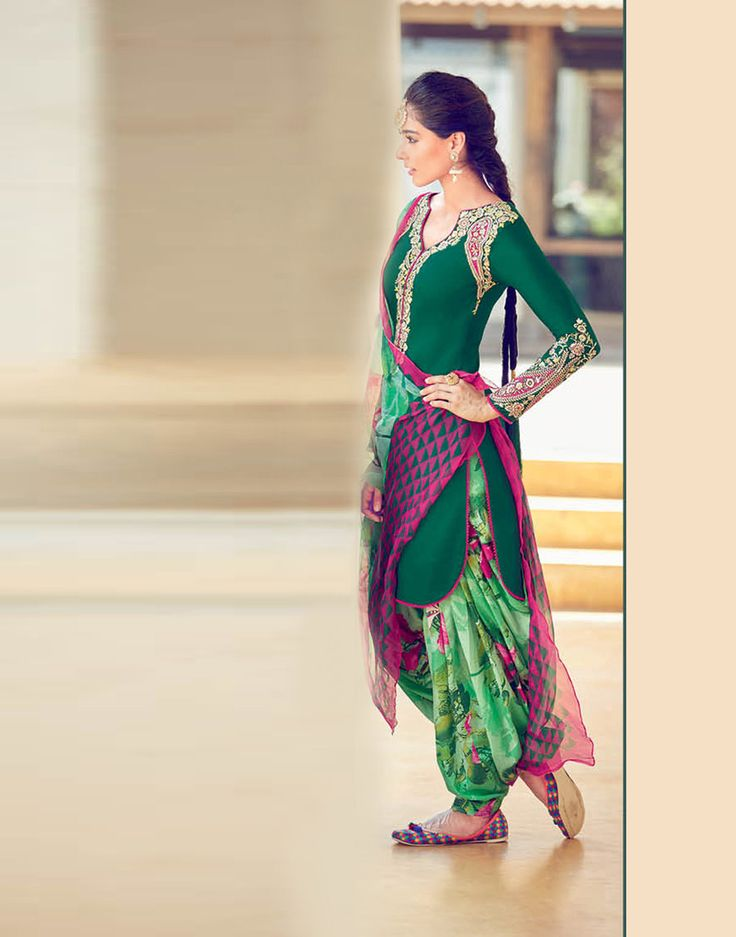 Green Cotton Satin Patiala Suit 70175