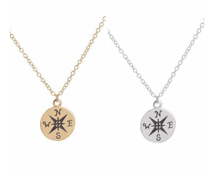 Box chain necklace Gold and silver plated Compass Necklace Find your true north and south direction necklace colourpop