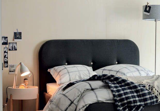 Têtes de lit : le modèle formes arrondies FlyLit BALIGG- Pour couchage 140 x 190 cm - Cadre de lit et tête de lit en panneaux de particules, panneaux de fibres de bois de moyennes densité et panneaux contreplaqués hêtre -Revêtement tissu 100% polyester coloris gris anthracite. Pieds, 2 en hêtre massif finition vernis cellulosique et 2 en polypropylène -L153 x h111 x P200 cm-Prix : 279,90 €.ChezFly