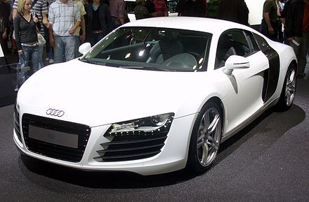 The Audi R8 was initially equipped with a4.2litre V8engine. Specifically, it is an all-aluminium alloy32-valve(four valves per cylinder)petrol engine,[5]utilisingFuel Stratified Injection(FSI),[5]and has adisplacementof 4,163cubic centimetres(254.0cuin).[5]It develops amotivepoweroutput of 420metric horsepower(309kW; 414bhp)(Directive 80/1269/EEC),[5]and generates 430newton metres(317lbf·ft) oftorque.