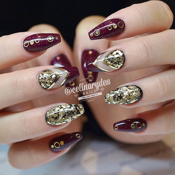 Burgundy and Gold Glitter Negative Space Nails