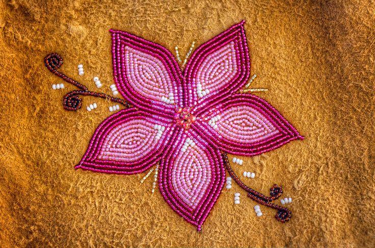 Native american floral beadwork beaded flower on moose hide