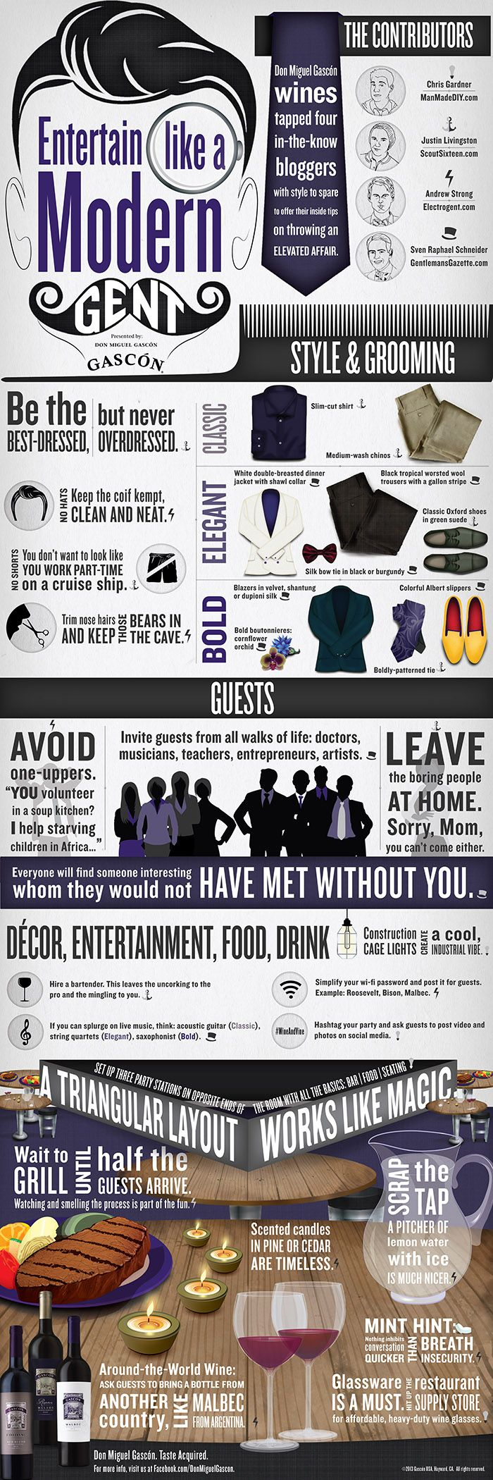 """Infographic: """"Entertain Like a Modern Gent"""" - Electrogent"""