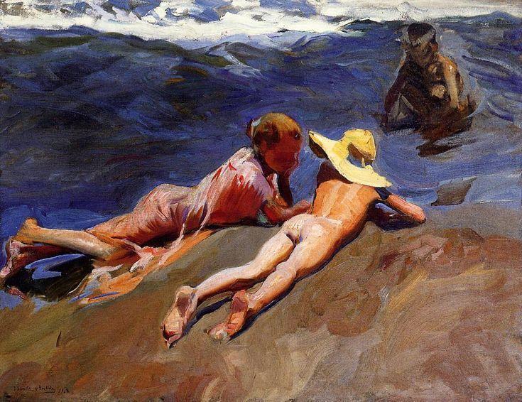 """joaquín sorolla y bastida - """"on the sand, valencia beach"""", 1908, oil on canvas."""