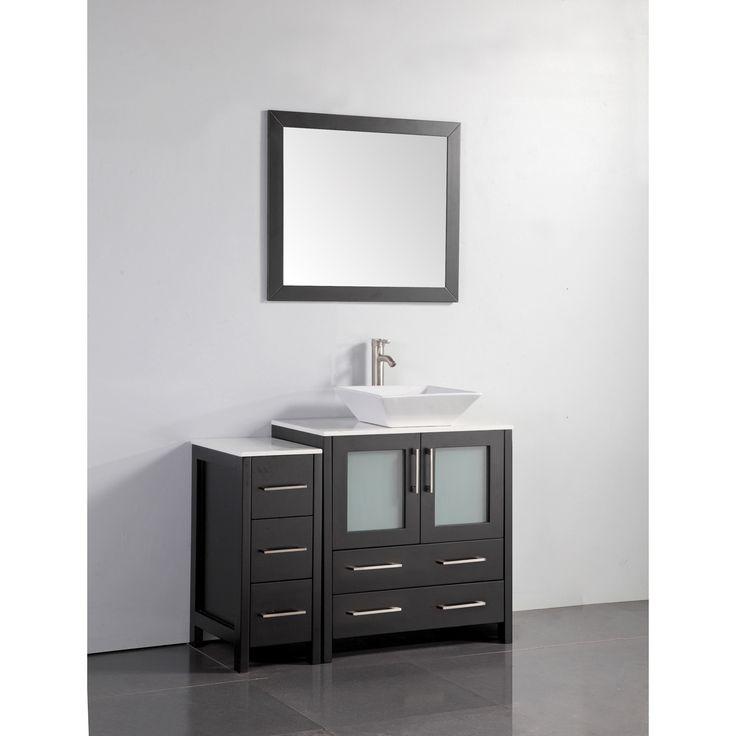 Vanity Art 42 Inch Single Sink Bathroom Vanity Set With Ceramic Top Espresso Brown