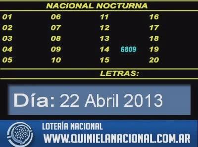 Quiniela Nacional Nocturna dia Lunes 22 de Abril de 2013 www.quinielanacional.com.ar