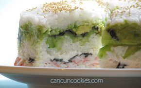 CancunCOOKIES: sushi cake / very good But cut recipe in half, except for avocado and surimi crab and take a bread pan (Note to self) instead of using plain surimi crab, i made a mixture with crab, chili garlic sauce and mayo ) very tasty Satisfies your sushi craving!