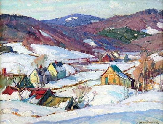 Close Look At Aldro Hibbard's Winter Paintings Sold at the James D. Julia Art Auction! John Gale's collection.