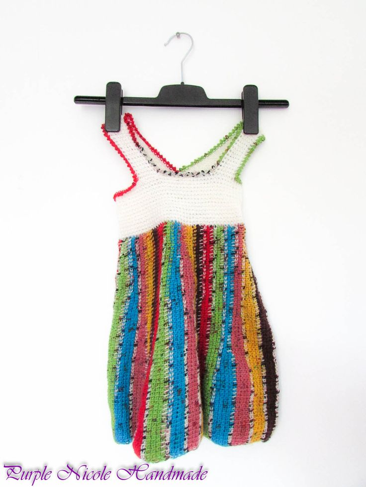 Aurora - Handmade Crochet beautiful rainbow colored little girl dress by Purple Nicole (Nicole Cea Mov). Materials: wool acrylic yarn.