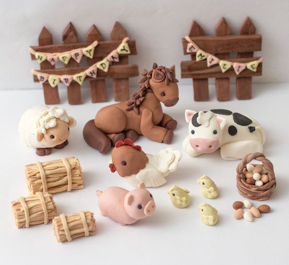 Fondant farm animal toppers  Ready to ship in by SeasonablyAdorned