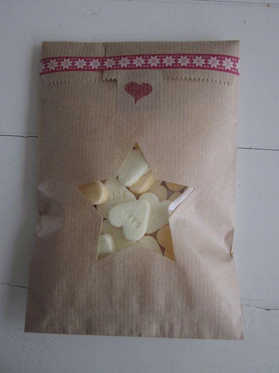 Kraft papieren zakjes met ster venster set van 20 van Natron kraft/ouderwetse marktzakjes --- Voor je bruiloft of verjaardagsfeest