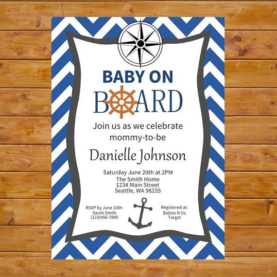 baby on board baby shower invitation nautical baby shower nautical theme baby shower navy blue chevron printable custom digital file
