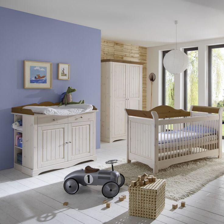 Babyzimmer Freja Babybett 140x70 Kiefer massiv White Wash Provence - Babybett 70x140cm mit Lattenrost (ohne Dekoration, Matratze und Zubehör) - Steens Furniture - B/H/T 76,4 cm / 98,4 cm / 156 cm - Möbel günstig kaufen