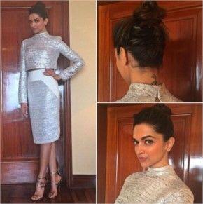 22) Deepika Padukone in Bibhu Mohapatra Shining Silver Outfit