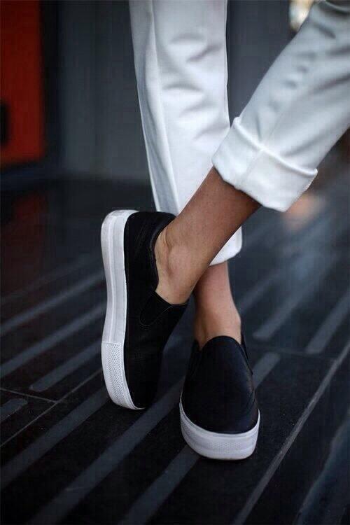 Black Platform Slip-ons #classic #casual