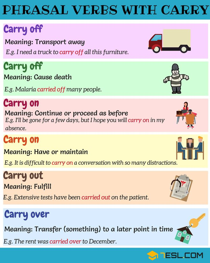17shares Learn common phrasal verbs with CARRY in English. You can jump to any section of this lesson:1 Carry off2 …