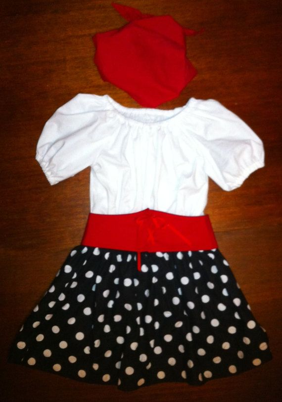 Girls' pirate princess 3 piece costume(dress, hat, waist cincher) in soft, 100% cotton fabrics by AGHcustomcostumes on Facebook and Etsy.