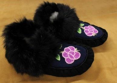 Women's Black Moose Hide and Black Rabbit Fur #Moccasins - purple beaded flower #Aboriginalart #Kitigan #Canadian #Moccasins