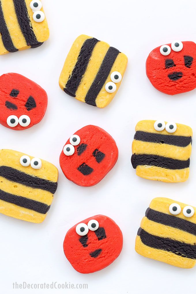 Simple ladybug and bumble bee slice and bake cookies in