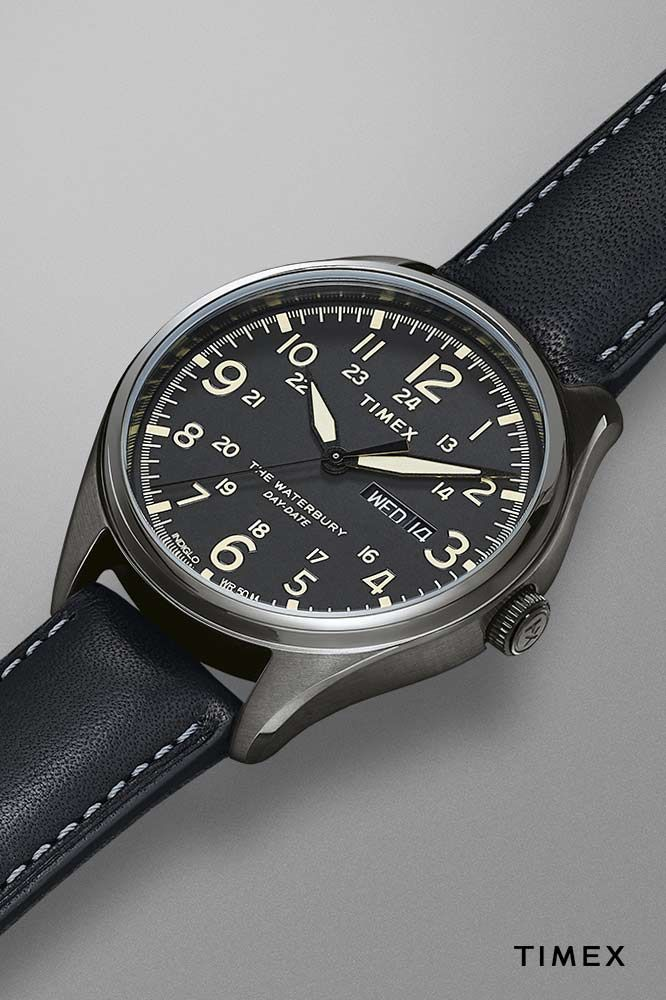 15decbb0e Waterbury Traditional Day Date 42mm Leather Strap Watch | Everyday ...