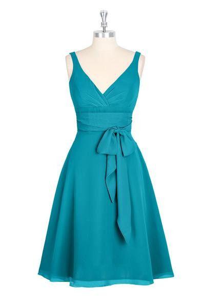 A-line V-neck Chiffon Turquoise Homecoming DressesSexy Bridesmaid Dress ,Cheap Prom Dress