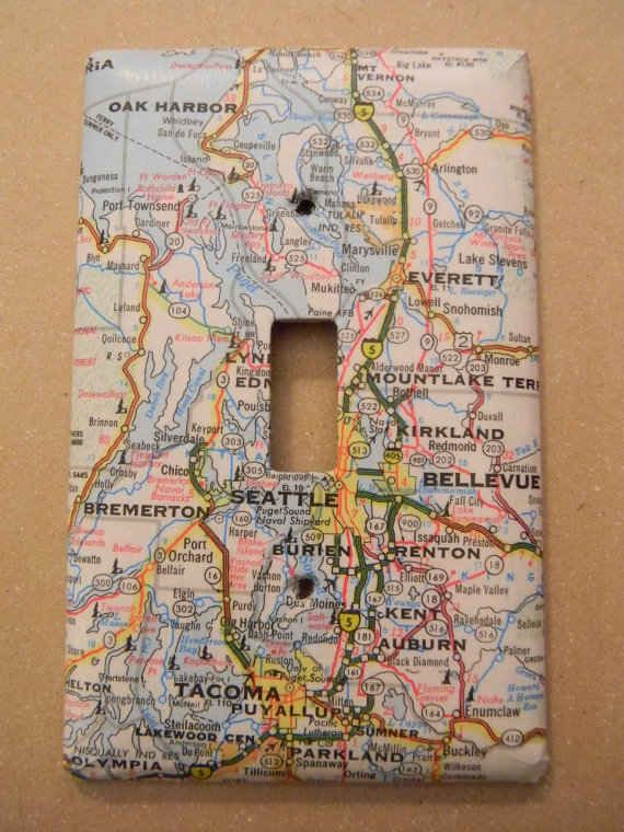 Maps...just one of 19 Adorable Ways To Decorate A Light Switch Cover