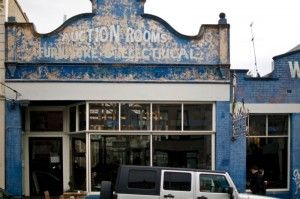 Street view. The converted urban space Auction Rooms cafe in North Melbourne