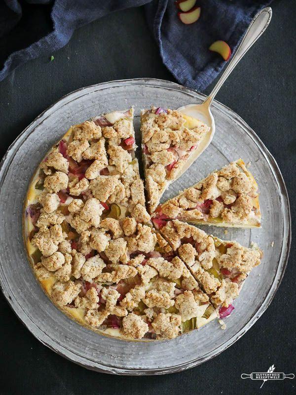 Glutenfreier Rhabarber Quark Kuchen Mit Streuseln Rezept