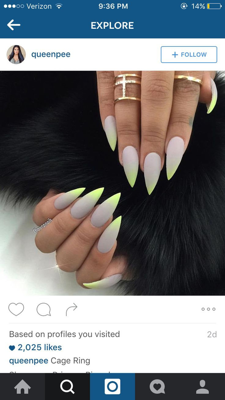 Grey neon lime green nails