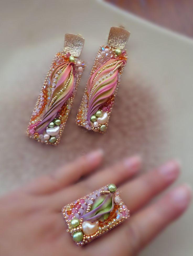 """PARURE - bead embroidery, shibori silk, soutache, swarovski. Designed by """"Serena Di Mercione Jewelry"""""""