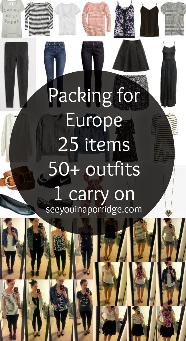 Packing for Europe: 25 items = 50+ outfits