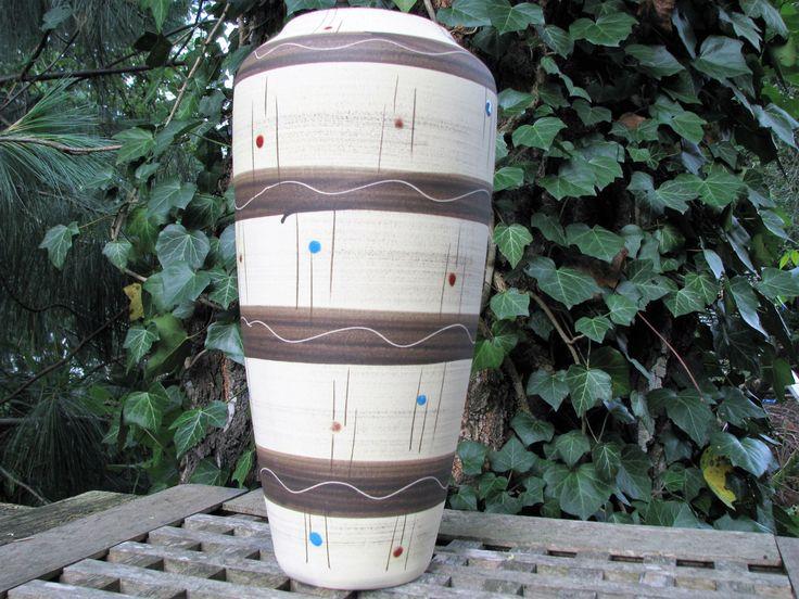 Large 1950s Vase – Bay Keramik – Vintage German Mid Century Pottery – No. 508 30 – Rockabilly –Enamel Dots – Ethno Style – WGP Home Décor von everglaze auf Etsy