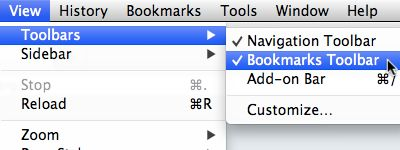enable bookmarks toolbar for mac