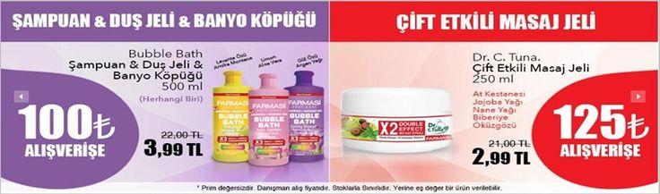 ŞAMPUAN&DUŞ JELİ&BANYO KÖPÜĞÜ 100 tl alışverişe herhangi biri sadece 3.99 tl - 125 tl Alışverişe Çift etkili masaj jeli sadece 2.99 tl... Bunlar kaçmaz fırsatlar....