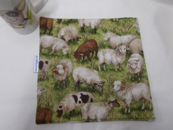 Sheep fabric Mug Rug, cup cozy, Drinks Coaster, quilted gifts, snack mat, Farm animals, mug rugs,table mats, Small homemade fabric mats,