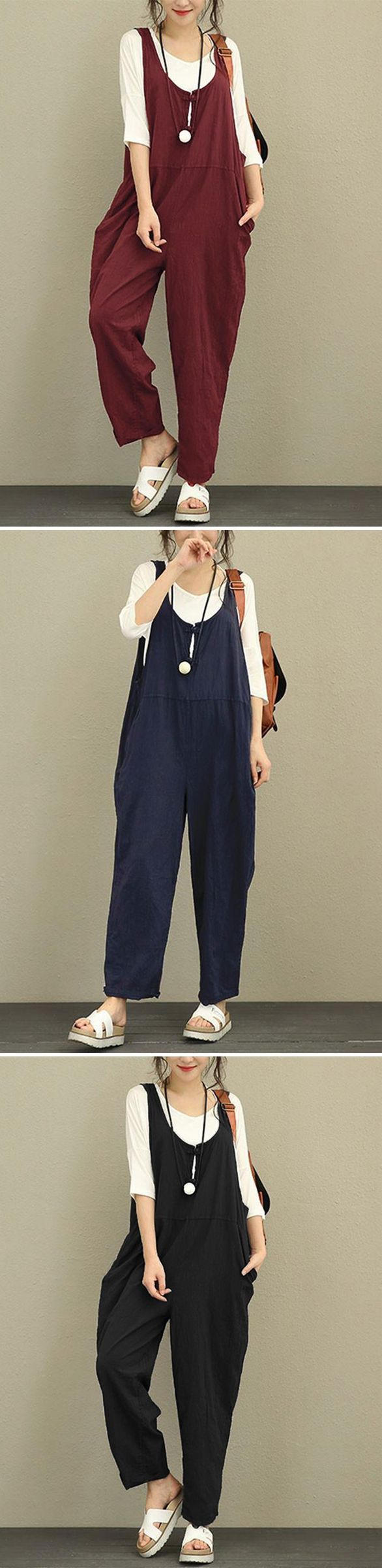 [Newchic Online Shopping] 46%OFF Vintage Pure Color Women Jumpsuits