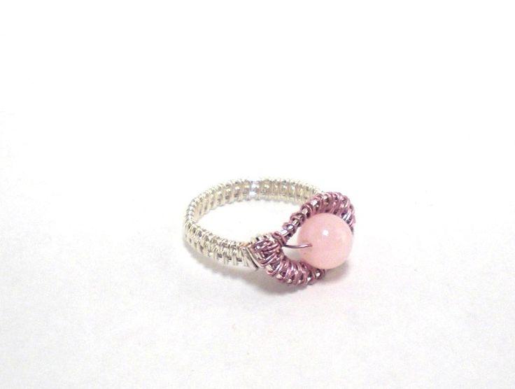 Ring ~ Silber/Rosa mit Rosenquarz