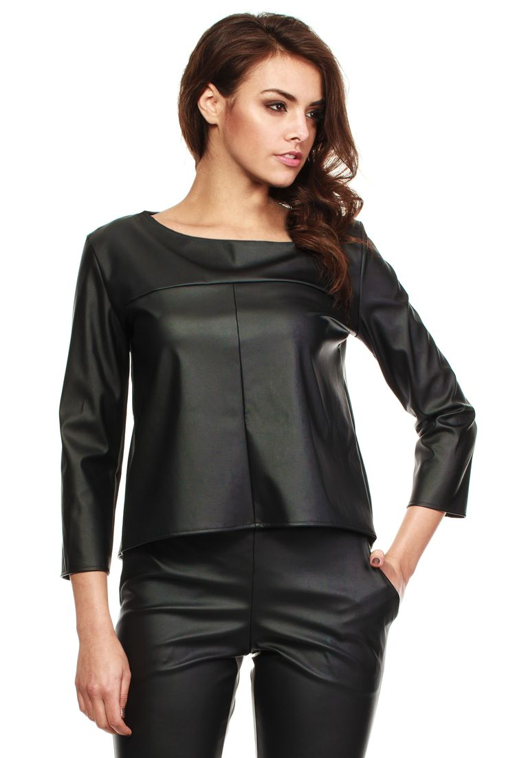 Black leather blouse (and trousers)