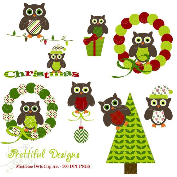 Christmas Owl Clip Art for Digital Scrapbooking, Invitations, Paper Goods, Card Making - Mistletoe (443)