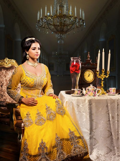 "Incredibly talented Vancouver based wedding and fashion photographer AMRIT photography shot this absolutely gorgeous series of Indian style Disney Princesses. The series ""Once Upon a Bride"" - Disney Princesses with an Indian twist, was shot for South Asian Bride Magazine and the wardobe is by Wellgroomed...   Belle"