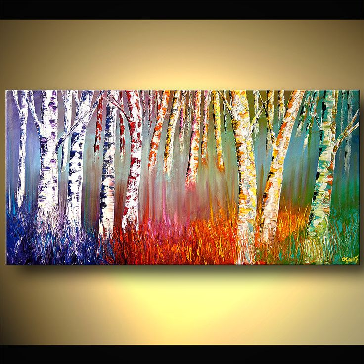 Bosque de abedul de plata de pintura de acrílico por OsnatFineArt