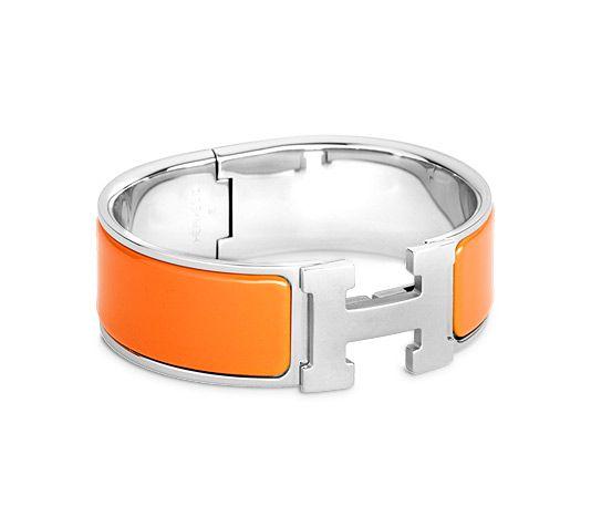 Clic Clac H Hermes Bracelet Orange Enamel Br Palladium Plated Hardware