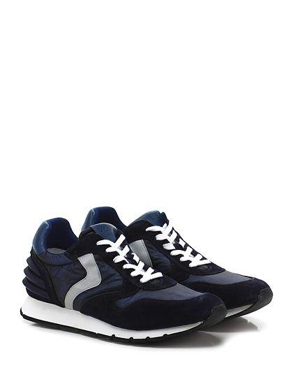 Voile Blanche - Sneakers - Uomo - Sneaker in camoscio e tessuto tecnico vintage con inserti in gomma su tallone e suola in gomma. Tacco 25, platform 15 con battuta 10. - BLU - € 198.00