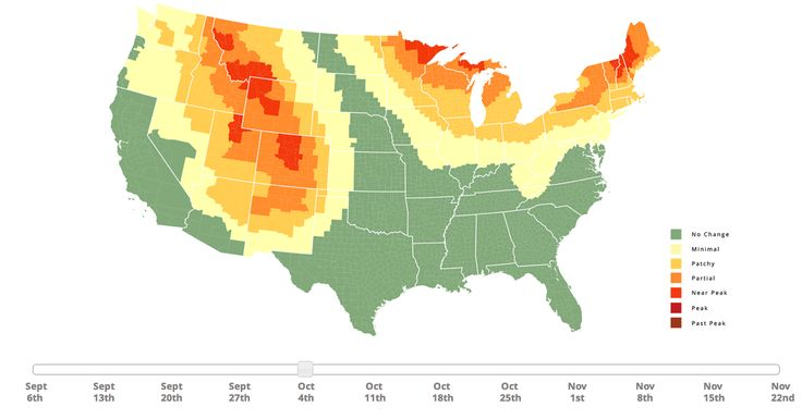 Fall Foliage Map & Peak Leaf Forecast - This map shows how the fall foilage is currently. It gets updated.