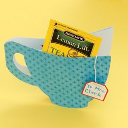 cute card for teachers or coworkers that like tea.  includes a template for the cup: