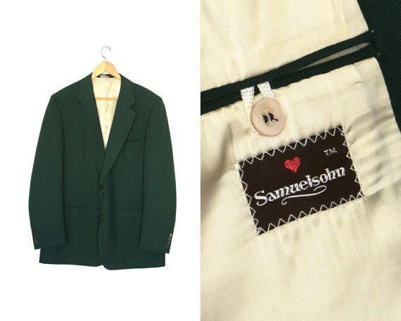 Vintage dark green blazer. Wool and polyester by LiveToLiveVintage