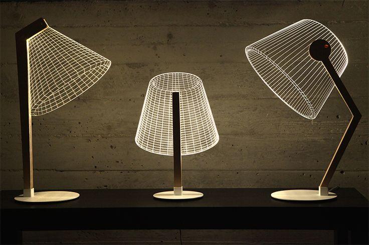 Le studio Cheba a créé ces trois lampes qui donnent une impression de volume avec leur structure qui s'illumine entièrement alors qu'elles sont en fait complètement plates.